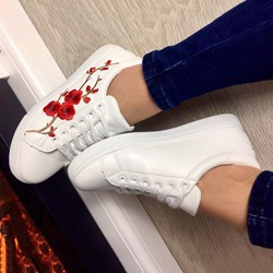 Shoespie Cute Embroidery White Shoes