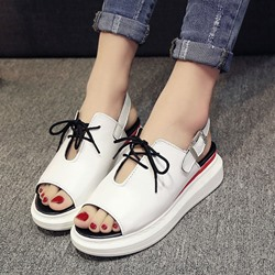Shoespie Front Lace Up Flat Sandals