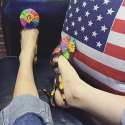 Shoespie Breathable Flowers Pineapple Stiletto Heels