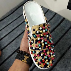 Shoespie Leopard Hair Colorful Spikes Men's Loafers