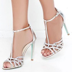 Shoespie White T Strap Peep Toe Hollow Stiletto Heel Sandals