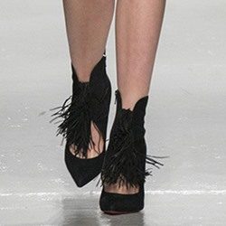 Shoespie Black Sexy Thin Tassels Stiletto Heels