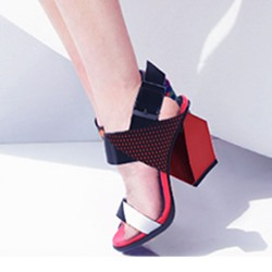 Shoespie Multi Color Geometric Heel Sandals
