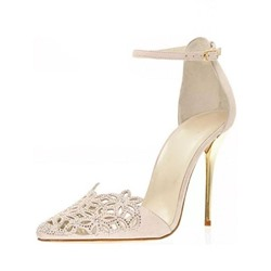 Shoespie Hollow Rhinestone Line-Style Buckle Stiletto Heels