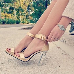 Shoespie Line-Style Buckle Transparent Chunky Heel Sandals