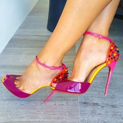 Shoespie Color Block Rivet Heel Sandals