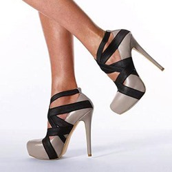 Shoespie Color Block Wrap Mesh Platform Heels shoespie