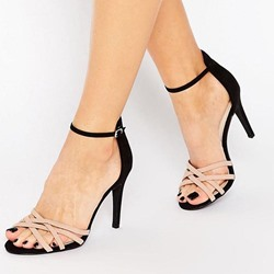 Shoespie Color Block Line-Style Buckle Sandals