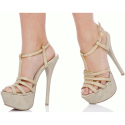 Shoespie Color Block Platform Heel Sandals