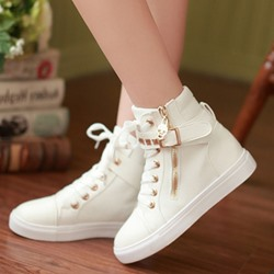 Shoespie Canvas Zipper Lace Up Sneakers