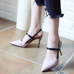 Shoespie Pointed-toe Cross Metal Buckles Stiletto Heels