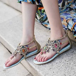 Shoespie Boho Colorful Rhinestones Thong Flat Sandals