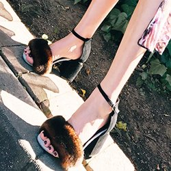 Shoespie Block Heel Sandals with Rabbit Hair