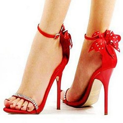 Shoespie Red Back Bow Rhinestone Line-Style Buckle Heel Sandals