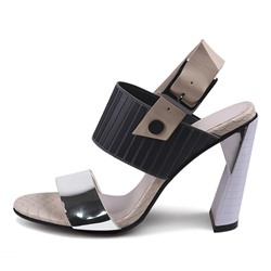 Shoespie Color Block Embossed Leaning Heel Sandals