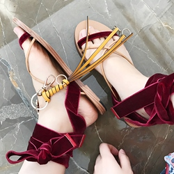 Shoespie Burgundy Velvet Ankle Wrap Flat Sandals