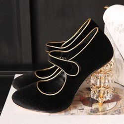 Shoespie Crystal-Lantern Mary Jane Stiletto Heels