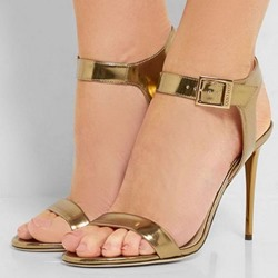 Shoespie Golden Ankle Strap Heel Sandals