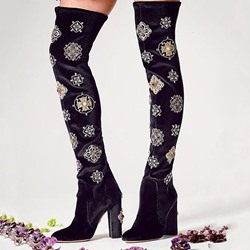 Shoespie Chunky Heel Back Zip Thigh High Boots