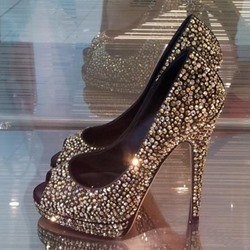 Shoespie Low-key Luxury Peep-toe Rhinestone Platform Heels