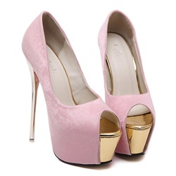 Shoespie Peep Toe Slip-On Stiletto Heel Platform Heel