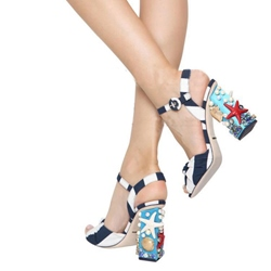 Shoespie Seastar Shell Pearl Decorated Chunky Heel Sandals