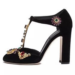 Shoespie Vintage Cutout Rhinestone Thick Stiletto Heels