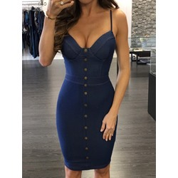 Shoespie Blue Button Spaghetti Strap Bodycon Dress