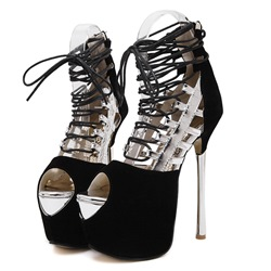 Shoespie Peep Toe Stiletto Heel Lace-Up Color Block Hollow Platform Heel