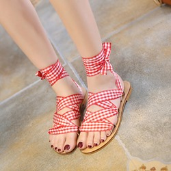 Shoespie Checked Fabric Lace Up Roman Sandals