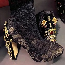Shoespie Vintage Rhinestone Lace Flowers Ankle Boots
