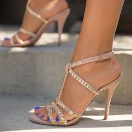 Shoespie Buckle Rivet Open Toe Heel Sandals
