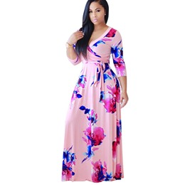 Shoespie Pullover Floral Plusee Women's Maxi Dress