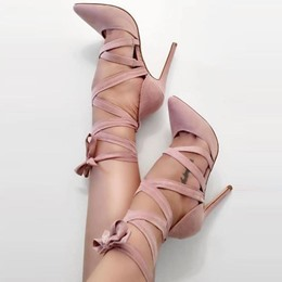 Shoespie Cross Strap Lace-Up Pointed Toe Pumps