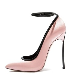 Shoespie Pink Elegant Ankle Metal Buckles Stiletto Heels