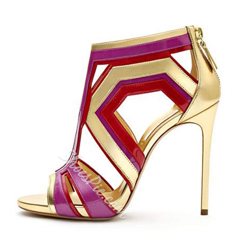 Shoespie Color Block Hollow Zipper Heel Sandals