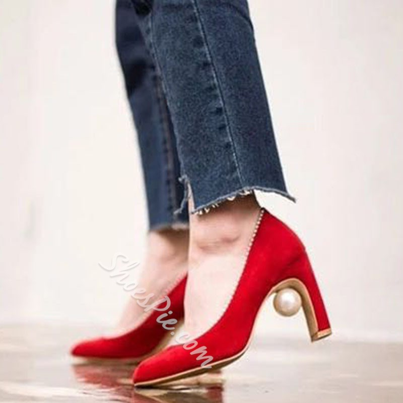 Shoespie Pearl Thick Stiletto Heels