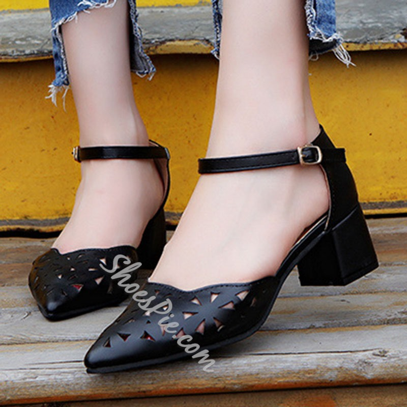 Shoespie Sweet Cutout Thick Stiletto Heels