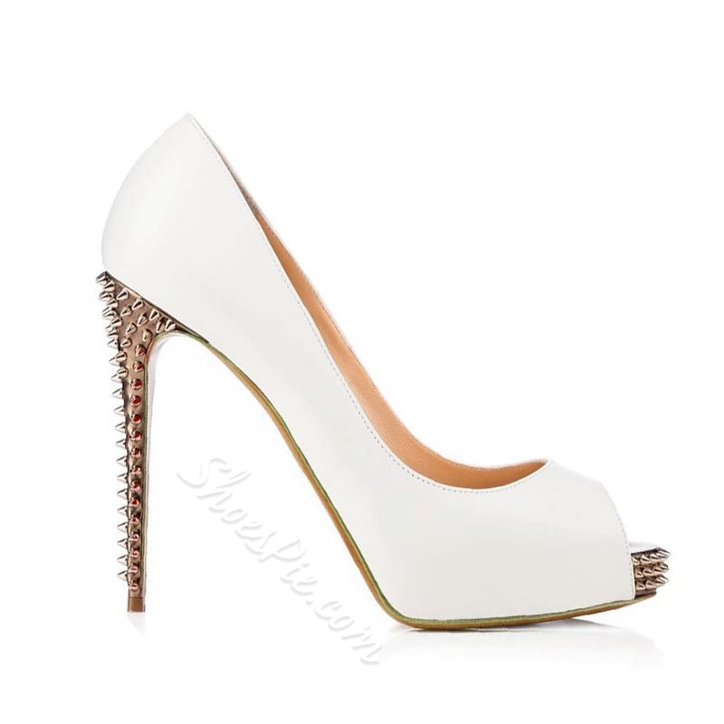 Shoespie White Peep-toe Rivets Platform Heels
