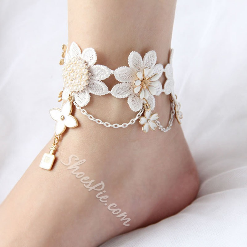 Shoespie Four-Leaf Clover Lace Anklet for Bride
