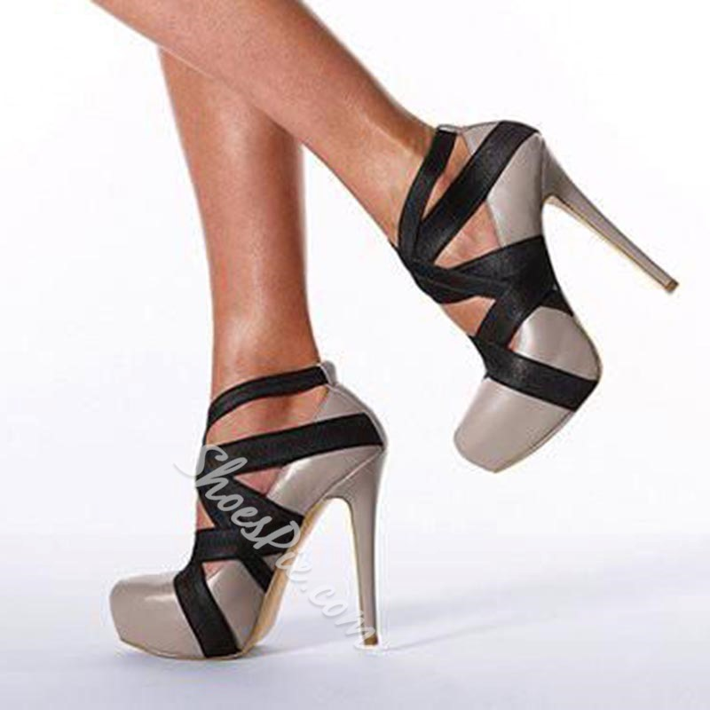 Shoespie Color Block Wrap Mesh Platform Heels