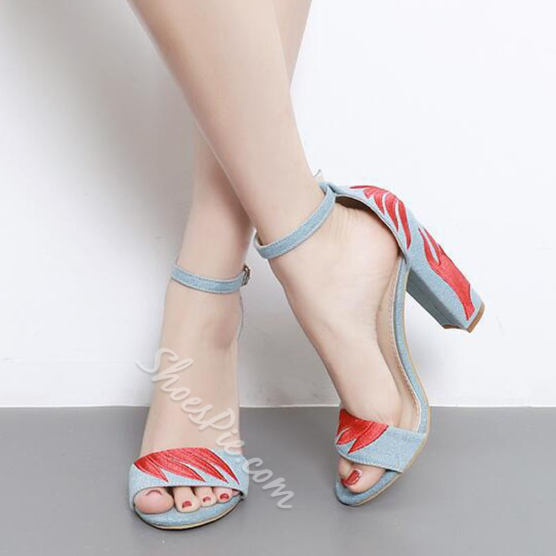 Shoespie Denim Back Ankle Covering Chunky Heel Sandals