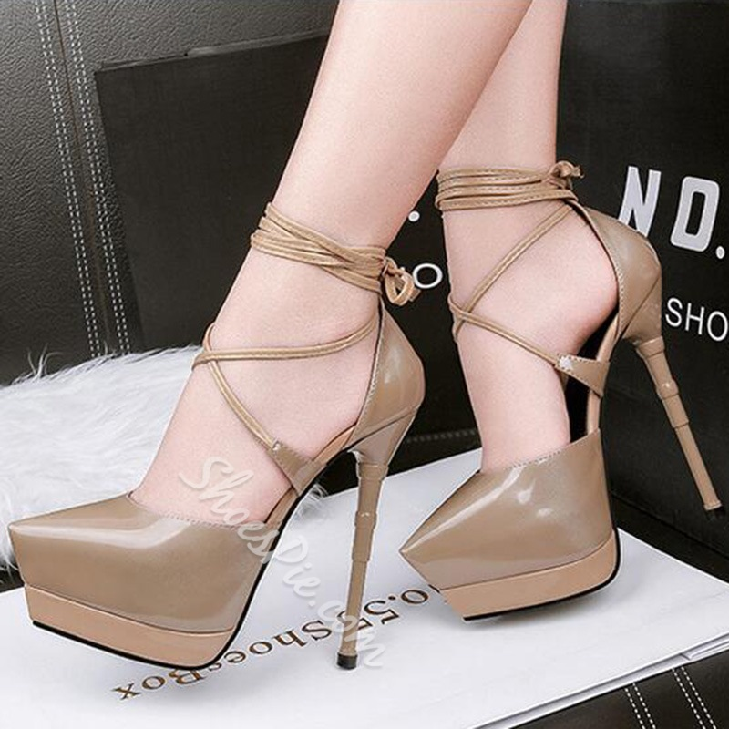 Shoespie Sexy Lace-Up Platform High Stiletto Heels