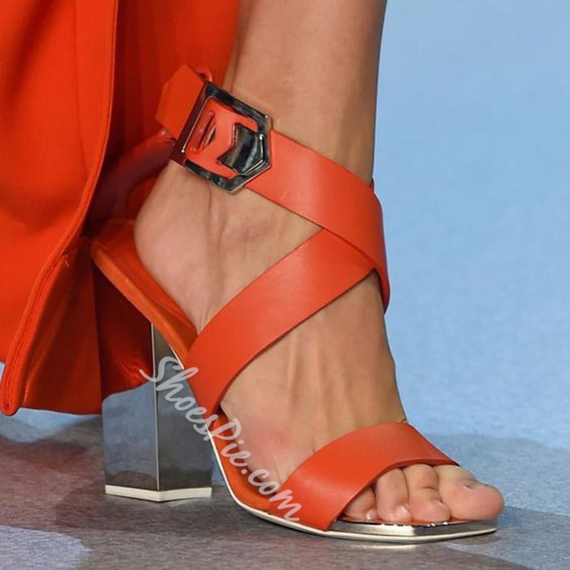 Shoespie Orange Open Toe Buckle Chunky Heel Sandals