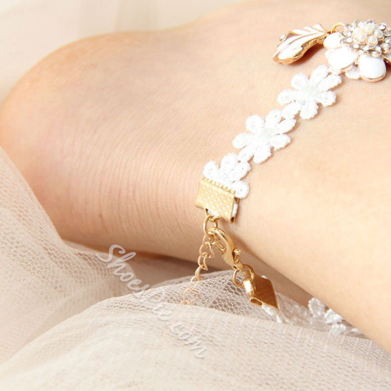 Shoespie Ladylike White Lace Women's Anklet