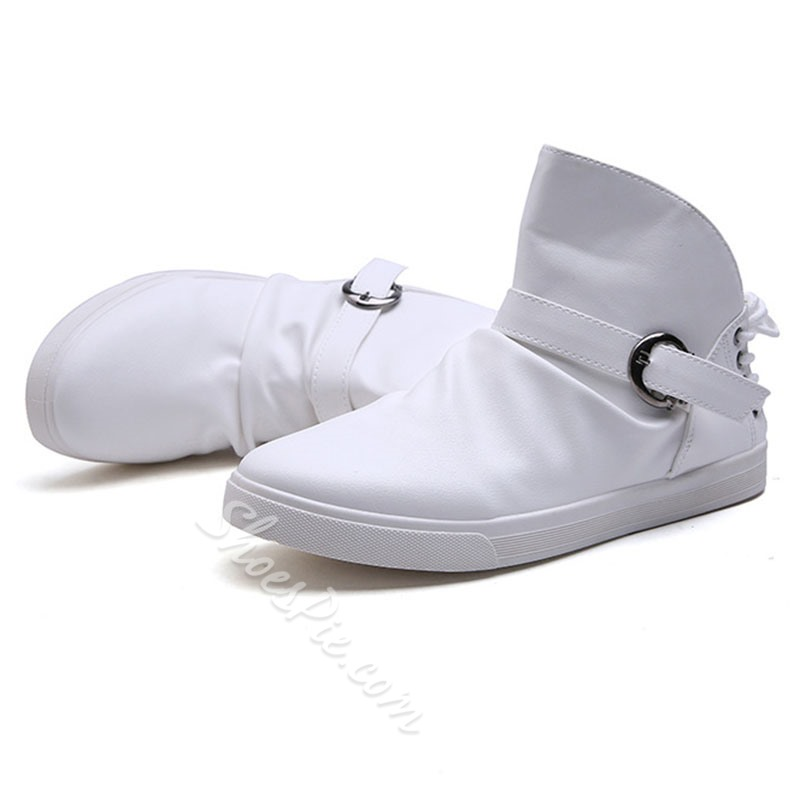Shoespie Back Shoe Laces and Buckles Men's High Upper Sneakers