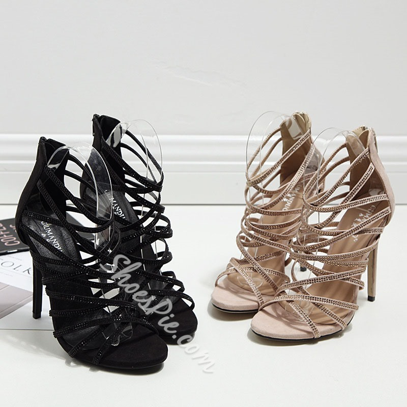 Shoespie Sequined Strappy Back Zipped Cage Sandals