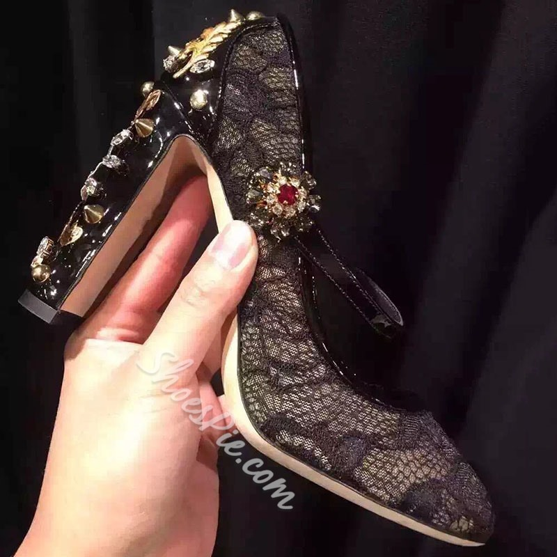 Shoespie Lace Metal Buckles Rhinestone Thick Stiletto Heels