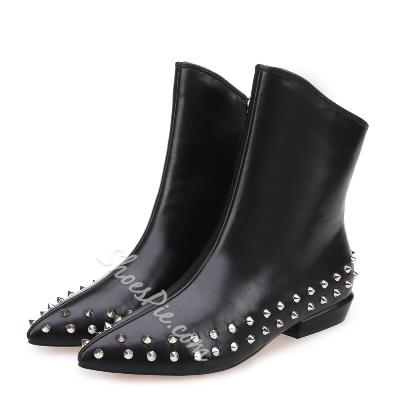Shoespie Black Rivets Pointed-toe Ankle Boots