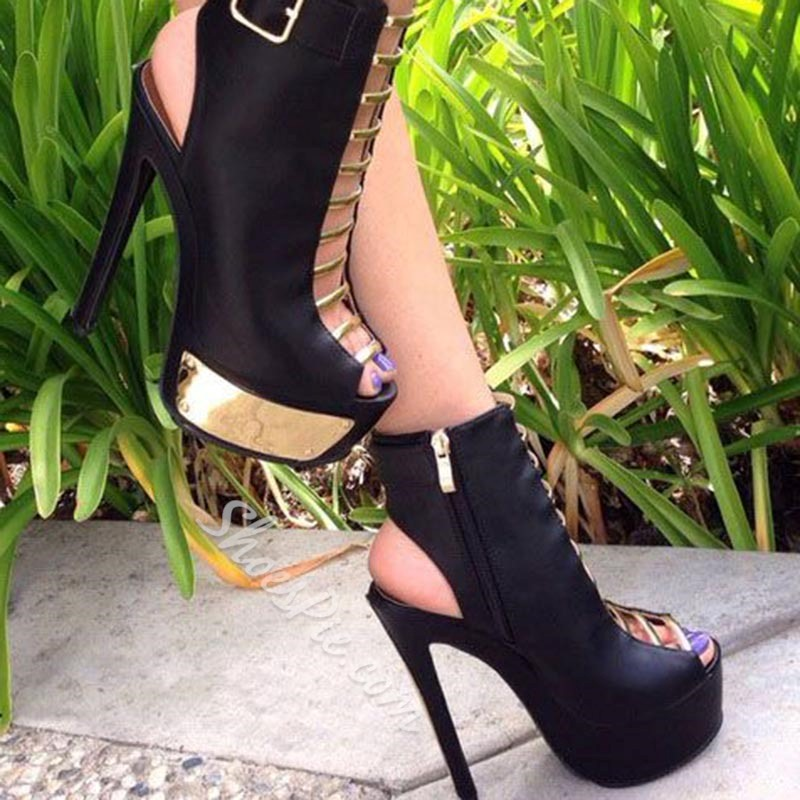 Shoespie Platform Peep Toe Hasp Zipper Pumps